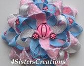 Custom Ribbon Princess Pumpkin Carriage Flower Loop Bow with Metallic and Moonstitch Ribbon