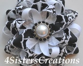 Bow - Flower Loop - Damask and Moonstitch with Pearl and Rhinestone Center