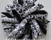 Large Korker Bow - White and Black Damask with Swiss Dot