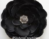 Black  Ranunculus Flower Clip with Custom Clear Rhinestone Button Center  Weddin, Bridesmaid, Flowergirl