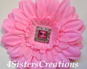 Pink  Gerbera Daisy Flower Clip with Square Button Rhinestone Center