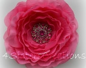Hot Pink Ruffle Rose Flower Clip with Custom Hot Pink Rhinestone Button Center Wedding, Bridesmaid, Flowergirl