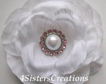 White Artificial Flower with New White Pearl and  Rhinestone Button Center