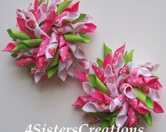 Custom Print Strawberry Shortcake Small Korker Set  Hot Pink Swiss, White and Light Apple Green