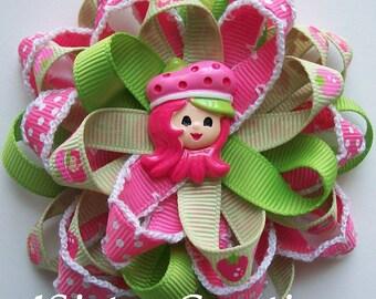 Custom Ribbon Strawberry Shortcake Flower Loop Bow with Custom Resin and Moonstitch