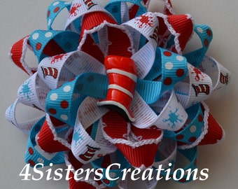 Custom Ribbon Dr Seuss Flower Loop bow with Custom Resin and Moonstitch Ribbon