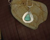 Blue Sea Glass and Silver Necklace