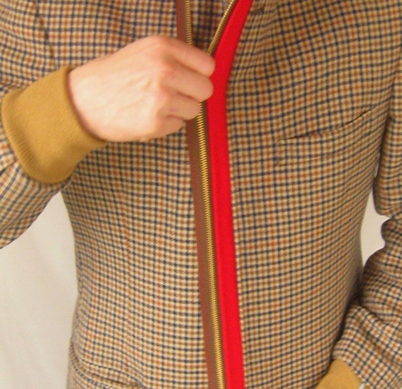 vintage plaid jacket with added hood, cuffs, and zipper