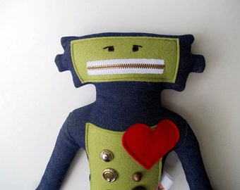 Robot Plushie with Big Red Heart