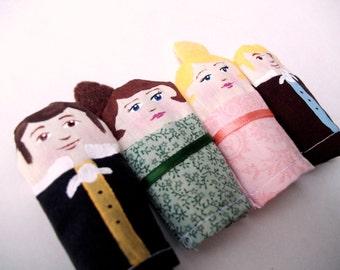 Pride and Prejudice Finger Puppet Set, Made to Order