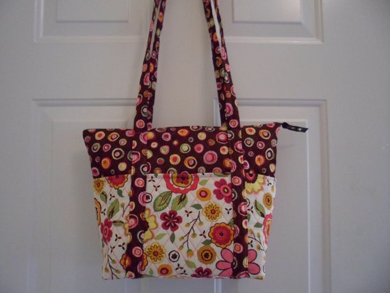 12 Pocket purse Brown Circles/ Flowers
