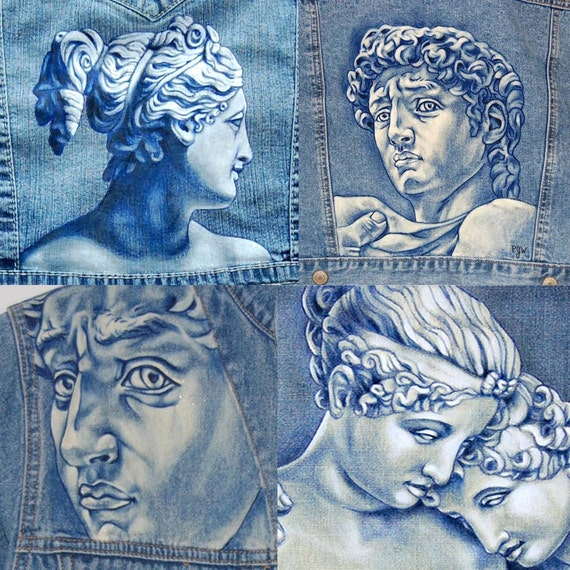 Items similar to Custom Hand Painted Jeans, Denim, Jackets ...