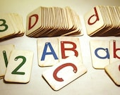 "Sandpaper Letters, Uppercase, Lowercase and Numbers 0-20  mounted on 3""x5"" Birch"
