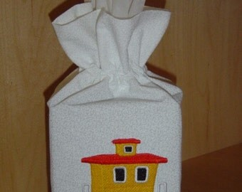 Tissue/Toilet Paper Cover - Embroidered YELLOW CABOOSE