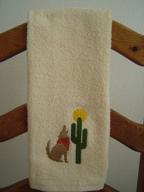 BEIGE Terry Cloth Hand Towel with Embroidered SOUTH WEST Coyote, Cactus, and Moon