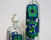OOAK Oil Bottle & Soap Dispenser Set  Hand Painted Geometric Design