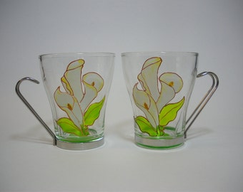 Modern Functional Glass Coffee Tea Cups Hand painted Calla Lilies Set of 2