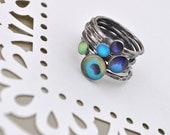 PEACOCK MEGASTACK. Sterling Silver Stacking rings (set of 7). YOUR Size.