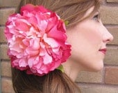 pink icing peony hair flower clip - 1/2 OFF SALE