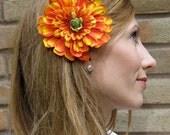 luscious orange hair flower - Zest of Citrus - 1/2 OFF SALE
