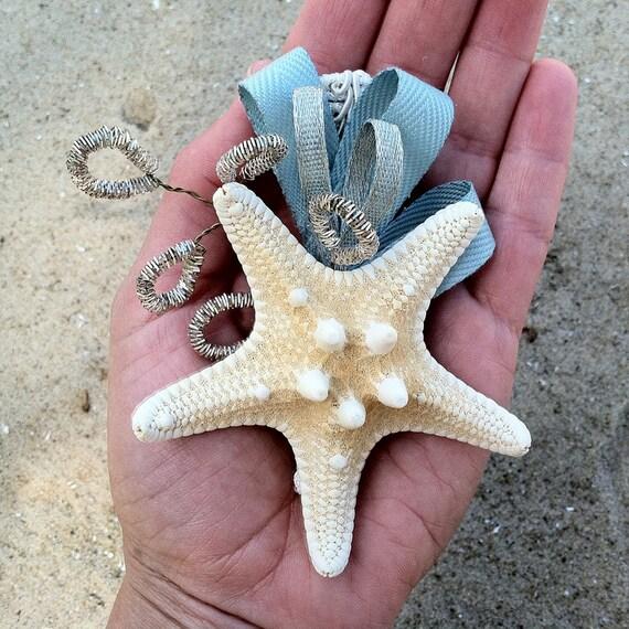 "50% OFF SALE - starfish bridal hair fascinator - Something '""ocean"" Blue"