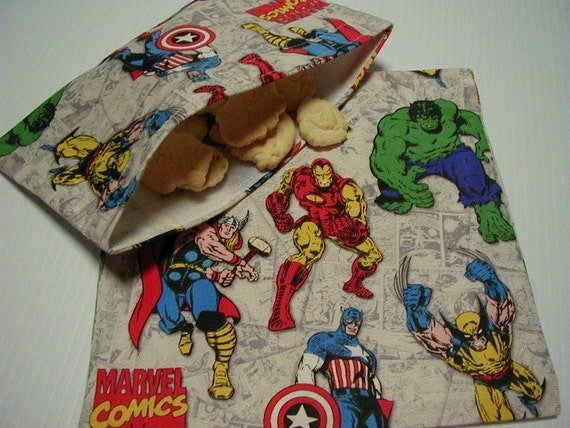2pc  Marvel Comics Super Heroes  Reusable Sandwich and Snack Bag