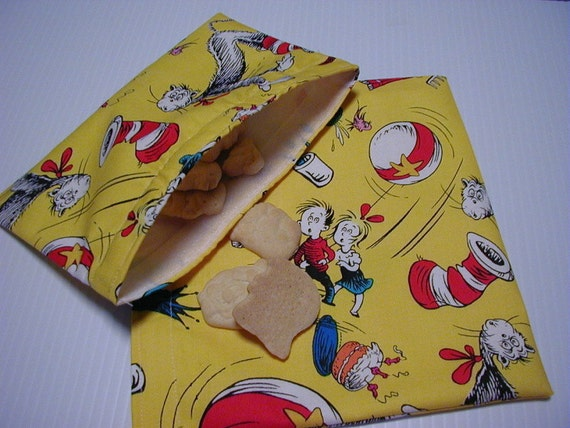 2pc  Cat in the Hat  Yellow Reusable Snack Bag