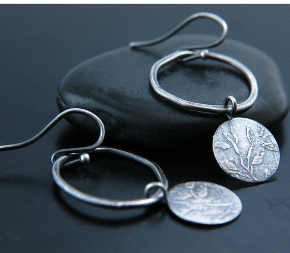 Cherry Blossom Etched Sterling Silver Earrings