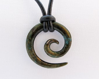 Koru Tribal Pendant in bronze moss with lobster clasp