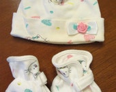 Vintage Baby Cap and Booties by Soupçon Cotton Pink Ribbon Rose Made in USA