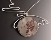 """Sterling Silver Pendant Necklace with Crazy Horse Stone """"Homage to Miro"""" OOAK"""