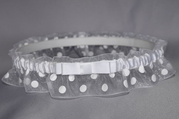 Garter in White Polka Dot with Tailored Bow