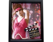 Framed Woman Collage, Ready for my Closeup, with Companion ACEO, Movie Clapboard, Pearls