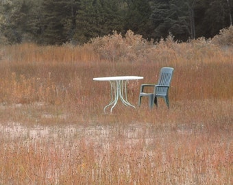 Digital Photograph End of Summer Series No. 1, Empty Table and Chair