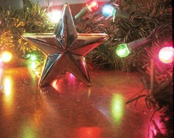 Holiday Lights Photo, Gold Star Print, Christmas Decor, Holiday Decoration, Christmas Wall Decor, Christmas Gift Photo, Holiday Decor