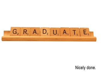 Graduate - Nicely done - Scrabble Greeting Card, Graduation Card, Scrabble Letters