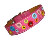 Cool Cat Leather Collar - Punk Pink