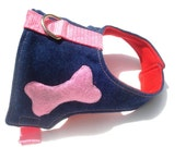 Cool Dog Harness and Leash Set Jean with Pink  Bone