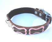 XXL Cool Leather Dog Collar - Brown with Pink  bones