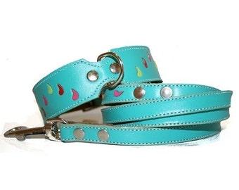 Tuff Love - Turquoise Leather Dog Collar and Leash Set