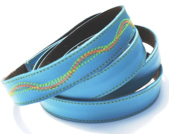 Cool Sky Blue Leather Dog Leash Lead