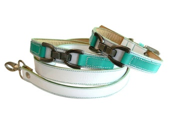 Bello - Leather Dog Collar and Leash Set -  White and Turquoise
