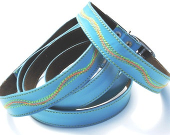 Cool Leather Dog Collar and Leash Set Sky Blue