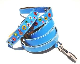 Loki Puppy Leather Dog Collar and Leash Set Sky Blue