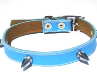 Cool Leather Dog Collar Spikes Sky Blue