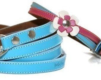 Swirls Leather Dog Collar and Leash Set  - Pink n' Blue