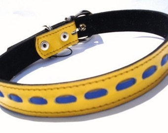XL Cool Leather Dog Collar Yellow and Blue