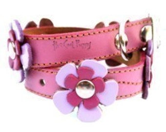 Flowers Pink Leather Dog Collar