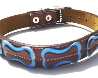 XL Cool Dog Collar Brown With Bones Light Blue