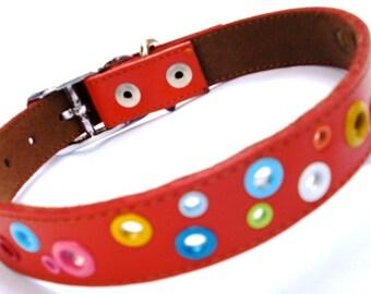 XL Loki Puppy Leather Dog Collar - Red